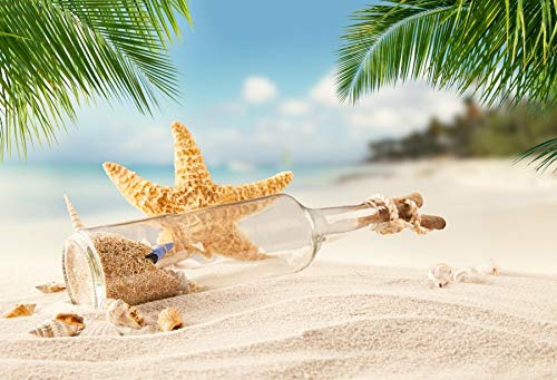 Summer Tropical Sea Beach Sand Starfish Shell Coral Palms Tree Child Holiday Photo Background Photo Studio A24 10x7ft/3x2.2m