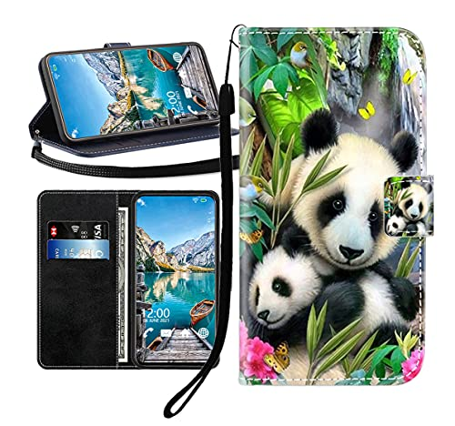 Sunrive Kompatibel mit HTC One M9 Plus Hülle,Magnetisch Schaltfläche Ledertasche Schutzhülle Etui Leder Hülle Handyhülle Tasche Schalen Lederhülle MEHRWEG(Wasserfall Panda B1)