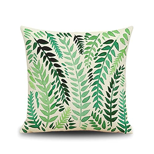 KnBoB Funda Almohada 40x40 cm Verde Rama de Olivo Tejido con Lino Cuadrado Decoración Interiores - Estilo 2