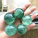 KDHJY Bola 1/2 Pieza Regalos Verdes Naturales fluorita Bola Baoding Esfera de la Bola de Cristal de Cuarzo Mineral Cristales de Cuarzo Natural 31-34MM Decorativa (Color : 31-34mm, Size : 1pcs)