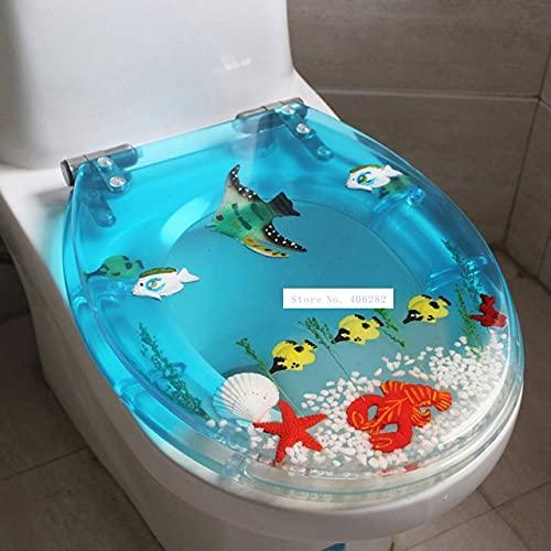 ユニークな 樹脂美しい海の世界デザイントイレのシートカバーセットユニバーサルトイレットカバーが多い (Color : K)
