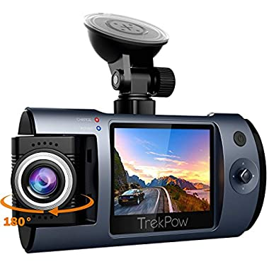 Dash Cam, Trekpow by ABOX HD 1080P Car DVR Dashboard Camera with 180°Rotation for Front and Cabin, 2  LCD, 170°Wide Len, Night Vision, G-Sensor Lock, Loop Recording, Motion Detection, Parking Mode