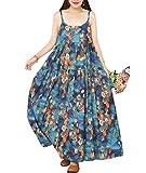 YESNO Women Casual Loose Bohemian Floral Print Dresses Spaghetti Strap Long Maxi Summer Beach Swing Dress XS-5X E75 (L, As Picture02-Blue)