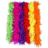 Max Fun 6PCS 6.56FT Colorful Party Feather BOA Girls Feather Boas for Mardi Gras Decorations Costume Boas Party Supplies