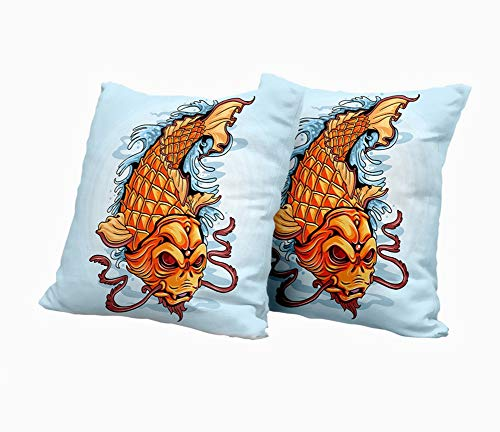 SAIAOS Juego de 2 Funda de Cojín 50x50cm,Fantasía Koi Fish Carp Gold Tattoo Obra de Arte,Fundas de Almohada para Cojines Decorativos para Sofá Cama Coche Hogar