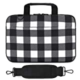 Holilife 14-15.6 Inch Laptop Shoulder Bag, Protective Notebook Messenger Briefcase Compatible with MacBook Air MacBook Pro Ultrabook Chromebook, Checkerboard
