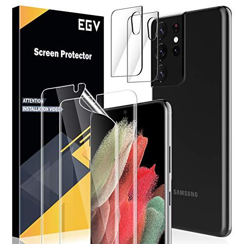 EGV 4 Stück Schutzfolie für Samsung Galaxy S21 Ultra, 2 TPU Folie und 2 Kamera Schutzfolie, mit 1 Stück Null Fehler Positionierhilfe, Klar HD Weich TPU Folie