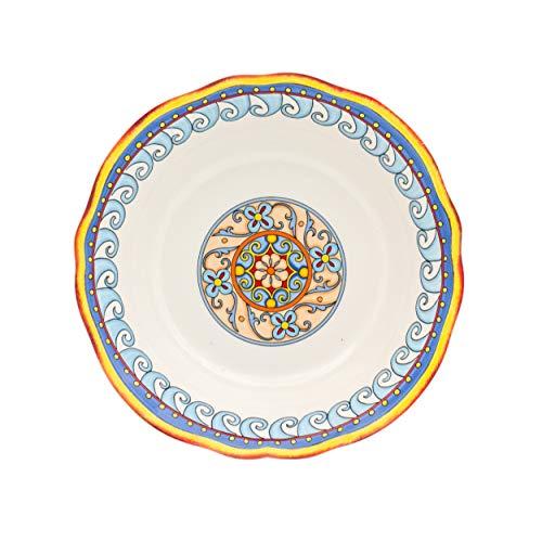 Euro Ceramica Duomo Collection Italian-Inspired 10' Round Ceramic Serving Bowl with Organic Edges, Floral Design, Multicolor