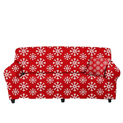 chaqlin - Funda elástica universal para sofá de 4 plazas, para el hogar, sala de estar, dormitorio, decoración de Navidad, diseño de copo de nieve rojo, para sillón, sofá, protector de sofá grande