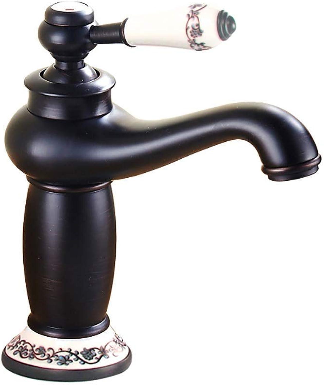 Giow Waschtischarmatur Antik Kupfer Wasserhahn, Bad Küche kalt warm Tischarmatur, Einhand Einlochmontage (Farbe  SCHWARZ)