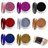 MELLIEX 8pcs Glitter per Unghie Effetto Specchio Polvere per Unghie con Bastoncini per Ombretto per Nail Art Decorazioni