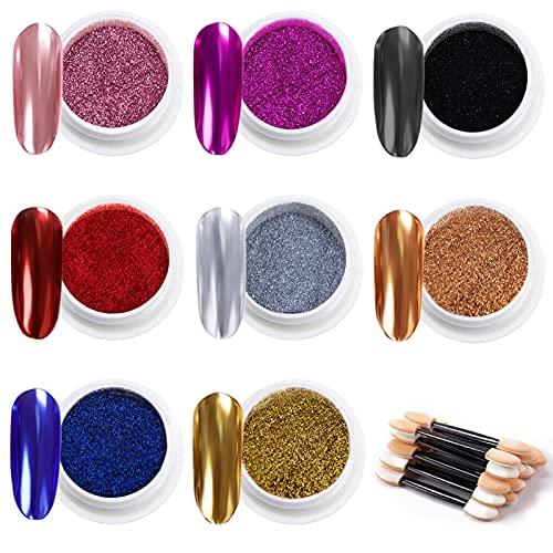 MELLIEX 8 Colors Efecto Espejo para Uñas, Metalicas Cromo en Polvo para Uñas Polvo Acrilico Para Uñas, con 16 Piezas Palos de Sombra de Ojos