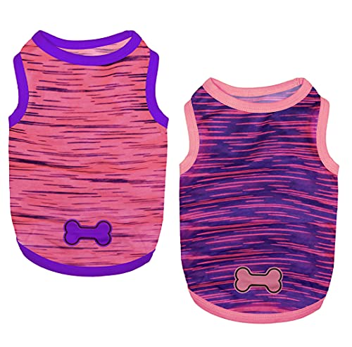 Set of 2 Dog Shirts Puppy Clothes Summer Shirts Cute Girl Boy Tank Tops Soft Pet Apparel for Small Dogs Cats Outfits Costume, Large