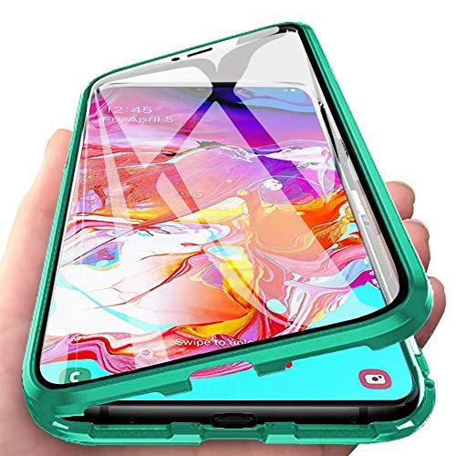 Carcasa para Xiaomi Redmi 9C, Magnética Funda [Marco de Metal] [9H Vidrio Templado de Doble Cara] Cubierta 360 Protección Aluminio Parachoques Magnet Case Absorción de Golpes Funda, Verde