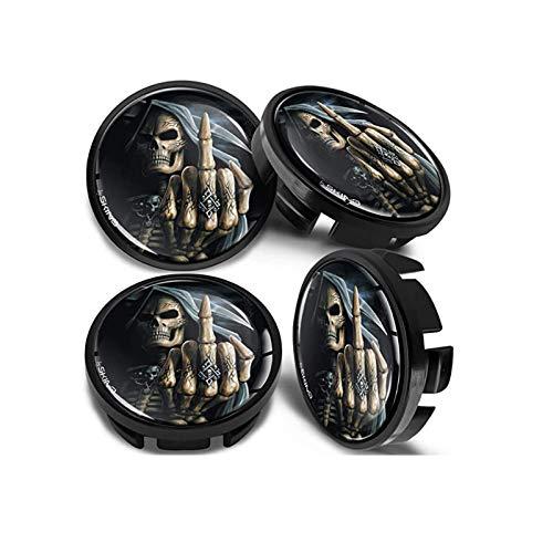 Ntjsmc Tapacubos de centro de rueda para números de pieza 3B7601 171 / 6U7 601 171 Tapacubos calavera dedo medio negro CV 25, accesorios de estilo de coche, 65 mm, 4 piezas