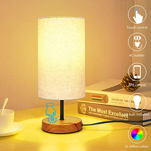SUMAOTE Bedside Table Touch Lamp, Dimmable Nightstand Lamp for Bedroom Living Room Warm White Shade Night Light Desk Lamp Bluetooth APP Control Music Sync Color Changing (Best Offline Music App For Iphone)