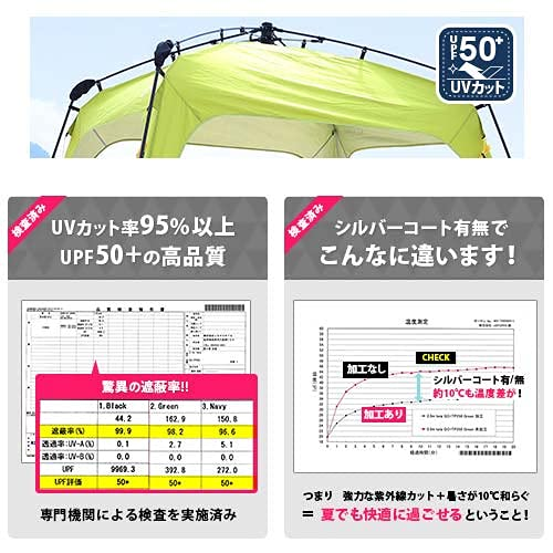 [クイックキャンプ]ワンタッチタープ2.5mフラップ付きブラックQC-TP250大型UVカット黒