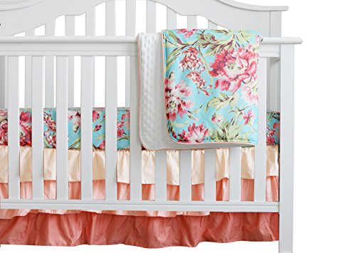 3 pcs Set Boho Floral Ruffle Baby Minky Blanket Water Color, Peach Floral Nursery Crib Skirt Set Baby Girl Crib Bedding (Aqua)