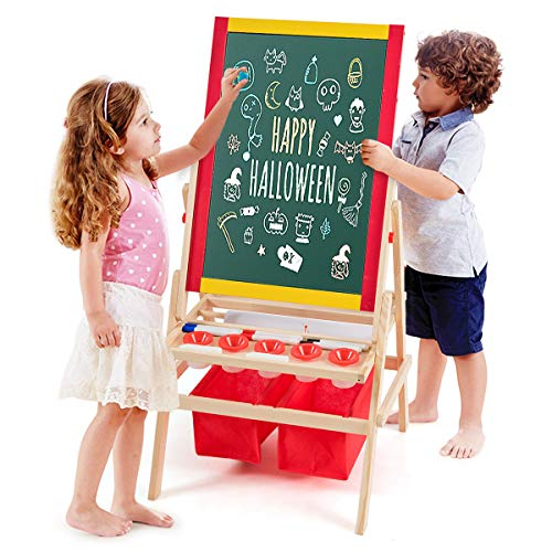Costway 3 en 1 Chevalet pour Enfants en Bois de Pin Tableau Magnétique Double Face Accessoires Complets 52,5 x 51,5 x 106,5 cm
