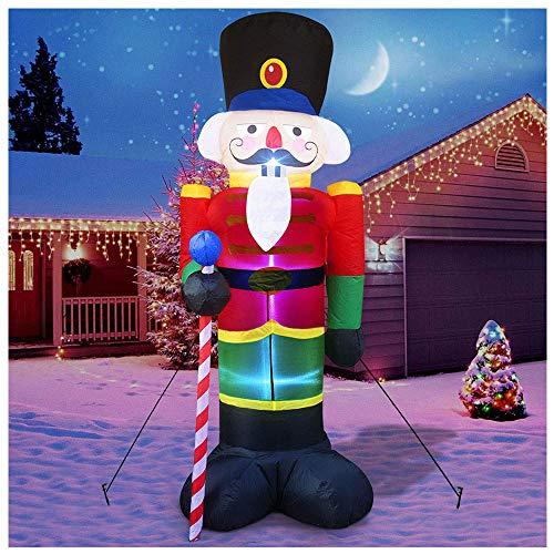 8 Fuß Weihnachten Inflatables Nussknacker-dekorationen Riesenweihnachten Blow Up Schlauchboot LED Lichter Weihnachtslicht Aufblasbarer Soldat Drinnen Draußen Veranda Rasen Hof Garten Party Dekor