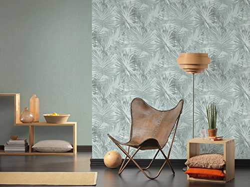 Livingwalls Vliestapete Hygge Tapete im Palmenprint in Dschungel Optik 10,05 m x 0,53 m blau grün Made in Germany 363853 36385-3