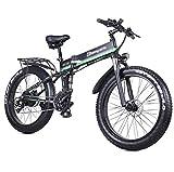 HARTI Bicicleta Eléctrica, Bicicleta De Montaña 1000W 48V Plegable con 26 * 4.0 Fat Tire, 21 Velocidad Ligera E-Bici con Pedaleo Asistido Hidráulico del Freno De...