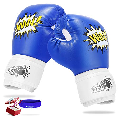 LET'S GO! Kids Boxing Gloves, Best Gifts for 5-12 Years Old Girls and Boys, Kids Youth Toddlers Boxing Gloves and Punching Bag, Kickboxing, Muay Thai, MMA Training Gloves (Blue)