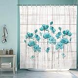 SUMGAR Cortina de ducha rústica con flores de color verde azulado cortinas de...