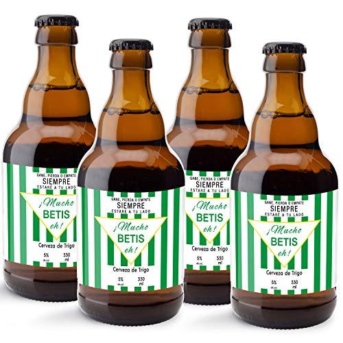 CEREX pack de 4 cervezas artesanales FUTBOL REAL BETIS cerveza especial trigo doble fermentacion cerveza alemana ideal regalo