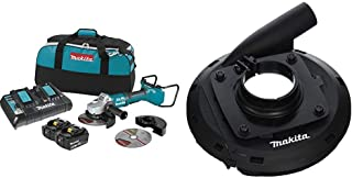 Makita XAG12PT1 18V X2 Lithium-Ion (36V) Brushless Cordless 7 Inch Paddle Switch Cut-Off/Angle Grinder Kit, with Electric Brake (5.0Ah) with 195386-6, 7 Inch Dust Extraction Surface Grinding Shroud