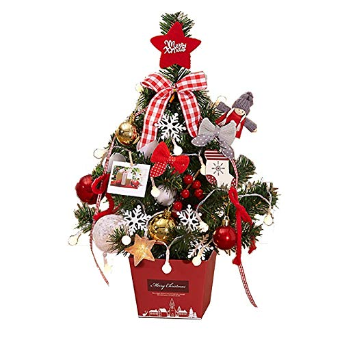 SPNEC DBFSX Christmas Trees with Lights Mini Xmas Trees Pre Lit with Multi Color LED Lights Desk Table Top Decoration with Ornaments and Baubles
