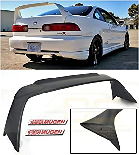 Extreme Online Store Replacement for 1994-2001 Acura Integra DC2 | Mugen Gen 1 Style ABS Plastic Primer Black Rear Trunk Lid Wing Spoiler with Mugen Red Emblem Pair