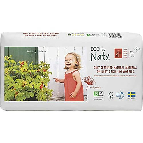 Eco by Naty Windeln, Größe 4+, 9-20 kg, pflanzliche Qualität, ökologische Windel mit Öl, weiß, 42 Stück