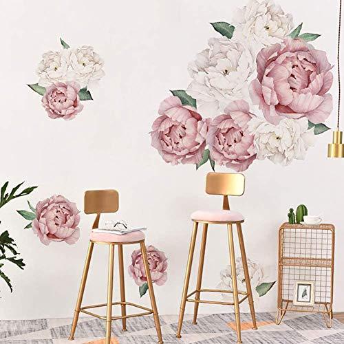 iTemer 40 x 60 cm Wandtattoo Wandsticker Abnehmbare Wandaufkleber in Rosa & Beige Groß Blumen Pfingstrose Rose Hintergrund für Schlafzimmer Home Dekoration Aufkleber Blume Wohnzimmer