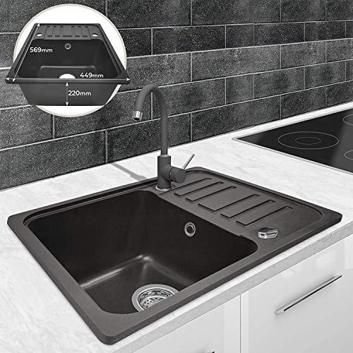 Fregadero de cocina con 1 cubeta de granito con escurridor, rectangular, reversible,...