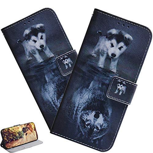 LEMAXELERS LG K41S / LG K51S Hülle,LG K41S Handyhülle Glitzer Netter Wolfh& Flip Hülle PU Leder Hülle Cover Magnet Schutzhülle Tasche Ständer Handytasche für LG K41S,TX Wolf Dog