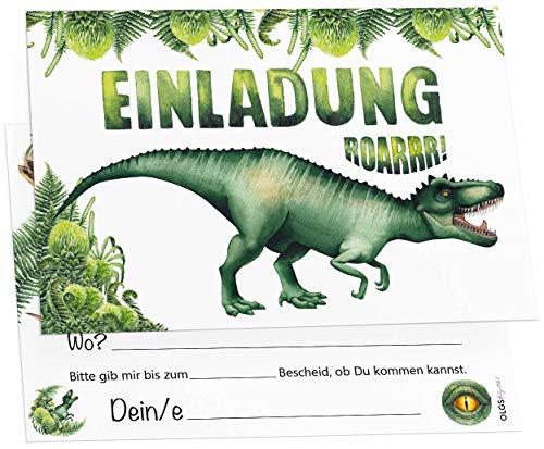 12 Einladungskarten Dinosaurier Tyrannosaurus Kindergeburtstag Kinder Party Geburtstag-Einladungen zum ausfüllen Dino (T-Rex)