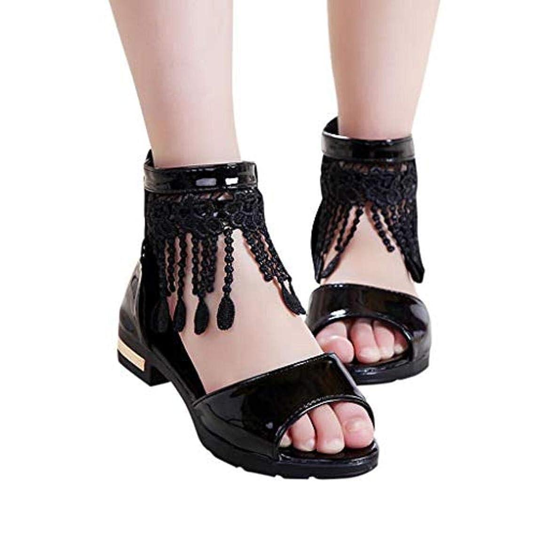 ??? Mealeaf ??? Children?Infant Kids Girls Fringe Pure Zip Dance Single Princess Sandals Shoes 4.5-12 Years