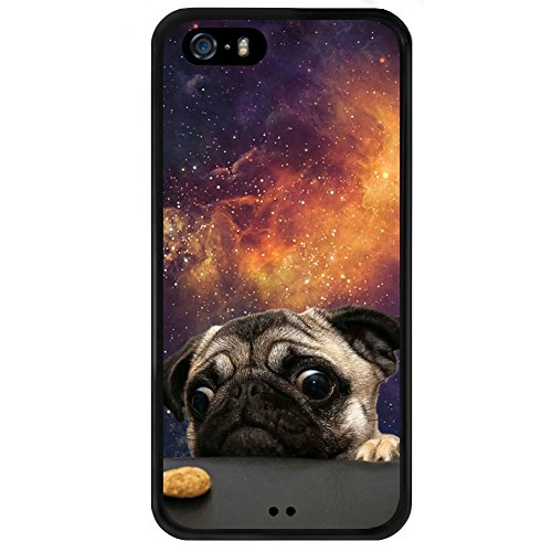 Universe Pug Dog iPhone 5s 5 SE Case,Shockproof Slim Anti-Scratch Protective Kit with Heavy Duty Dual layer Rugged Case Non-slip Grip Cover for iPhone 5s 5 SE,Black