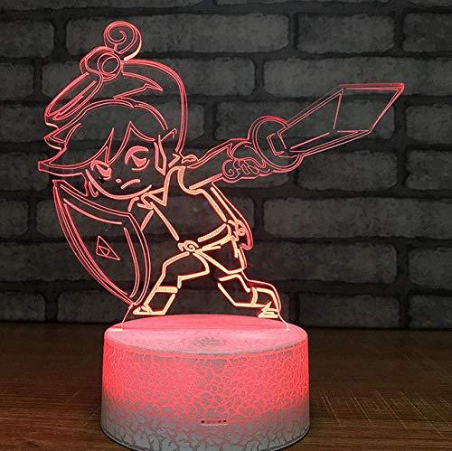 3D Nachtlicht The Legend Of Zelda Figure 3D Tischleuchte Baby Touch Control 7 Farben Ändern Acryl Nachtlicht Dekorative Kindergeschenke