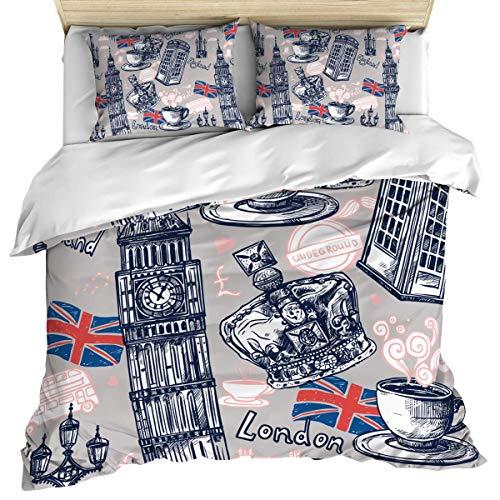 Ropa de cama de lujo, funda nórdica, edredón de Londres y fundas de almohada, juego de cama de 3 piezas, cabina telefónica con bandera del Reino Unido, juego de funda nórdica suave y acogedora de algo