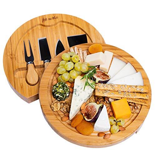 Bambus Käsebrett mit Käsemesser Set – 25cm Rund Servierplatte aus Holz für Käse und Häppchen – Cheese Board Charcuterie Board – Drehplatte Servierbrett aus Holz Käseplatte Drehbar – Geschenke Idee