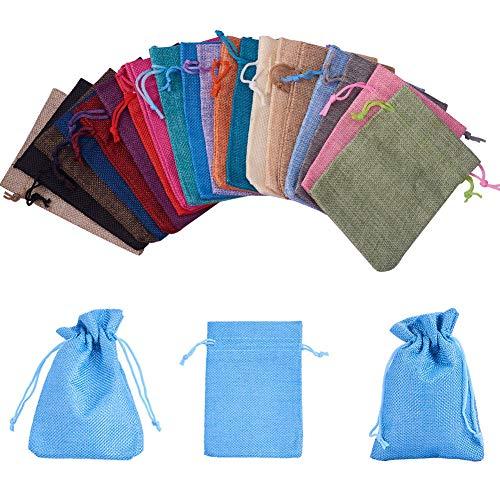 PandaHall Elite 40 bolsas de arpillera con cordón de regalo bolsas de joyería para bodas, proyectos de manualidades, regalos, aperitivos, joyas, 20 colores