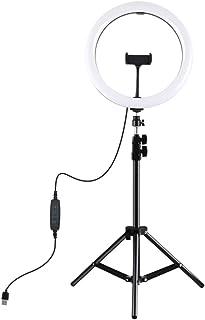مصباح تصوير فوتوغرافي بإضاءة ليد 11.8 بوصة قابل للتعتيم مع حامل ضوء ثلاثي القوائم ودعامة للهاتف المحمول، إضاءة ليد قابلة ل...