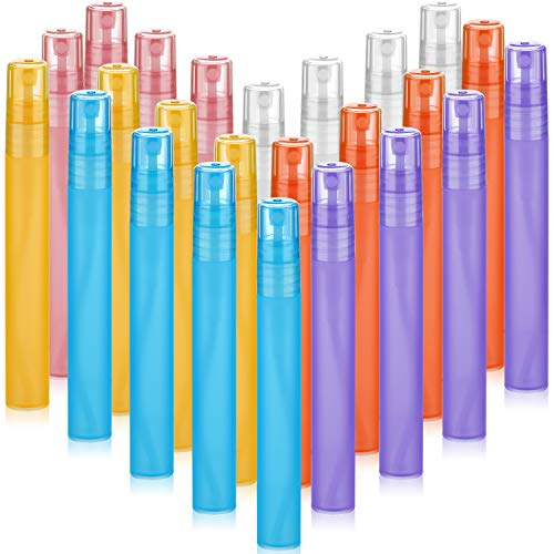 24 Botellas de Spray de Niebla Esmerilada de 10 ml/ 0,34 oz Tubo Plástico Colorido Botella de Perfume Recargable Vacía Contenedor de Spray de Viaje Portátil con Bombas Atomizadoras para Loción Perfume