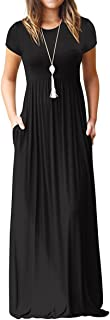 AUSELILY Women Short Sleeve Loose Plain Casual Long Maxi...