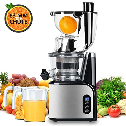 Aobosi Extracteur de Jus Vertical Slow Juicer 80mm Large Bouche Extracteur de Jus Presse à Froid Machine Quiet High Moteur Nutritif...