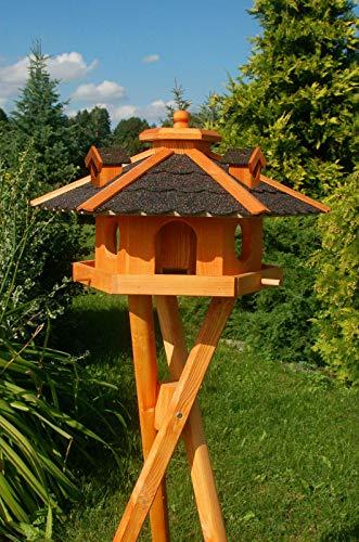 DEKO VERTRIEB BAYERN XXL Premium - Luxus Vogelhaus mit/ohne Solar/mit/ohne Ständer Holz Futterhaus Vogelfutterhaus Vogelvilla Modell 2020, Dunkel + Solar + Ständer
