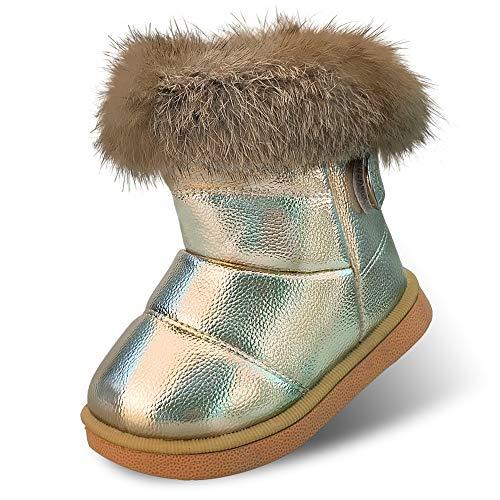 Hoylson Kinder Stiefeletten Mädchen Winter Stiefel Warmer Gefütterte Schneestiefel Baby Boots (Label 28/Gold)