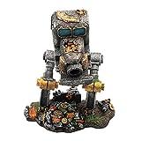 Fenteer Adorno de Tanque de Peces de Resina Decoración de Acuario de Cueva Robot de Coche para Caminar Creativo para decoración de Tanques de Pesca